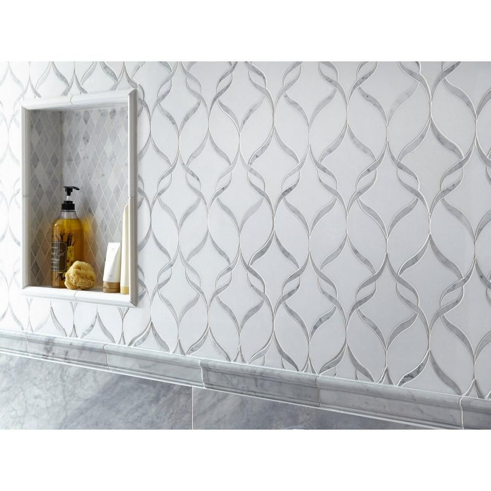 - Carrara Thassos Hera Waterjet Marble Mosaic Marble Mosaic, Floor