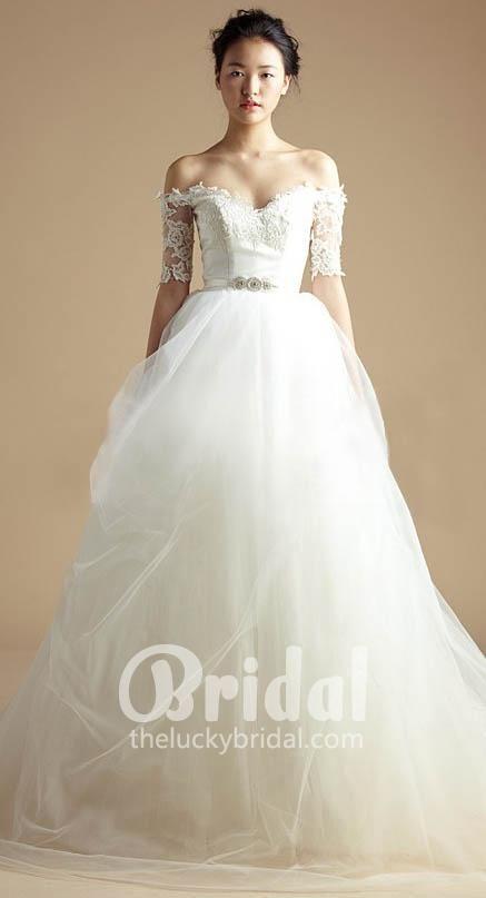57127f9d04c1 off the shoulder applique beaded short sleeve organza wedding dress