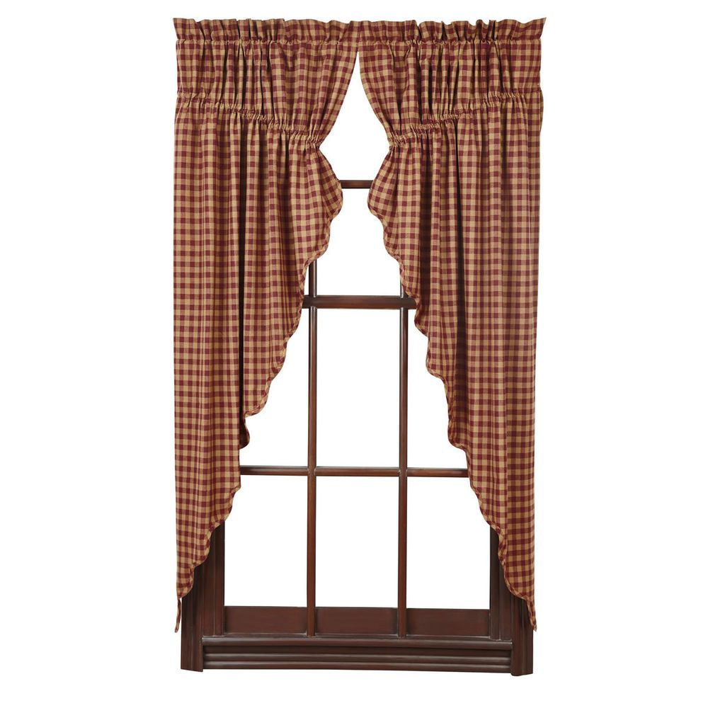 New Country Primitive Red BURGUNDY TAN CHECK PRAIRIE SWAGS Window Curtains CountryCurtains