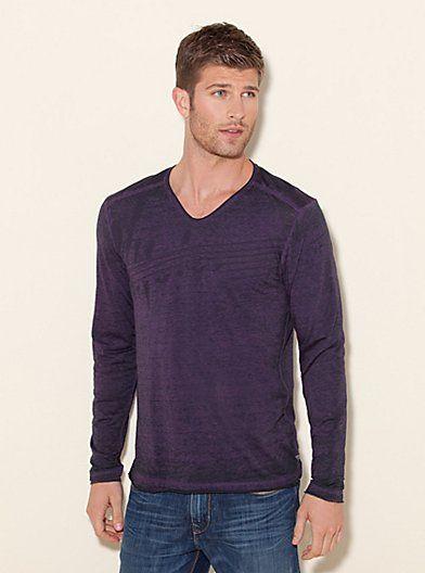 Myer Long-Sleeve Scoop Slit-Neck Shirt | GUESS.com | $49