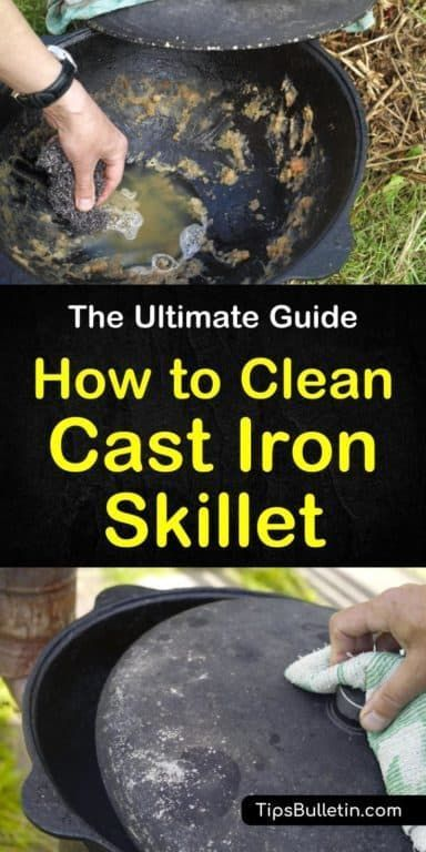 How to Clean a Cast Iron Skillet - The Ultimate Guide #cookingandhouseholdhints