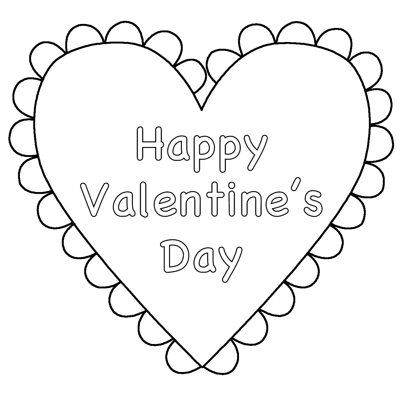 Happy Valentines Day Free Coloring Page Adults Love