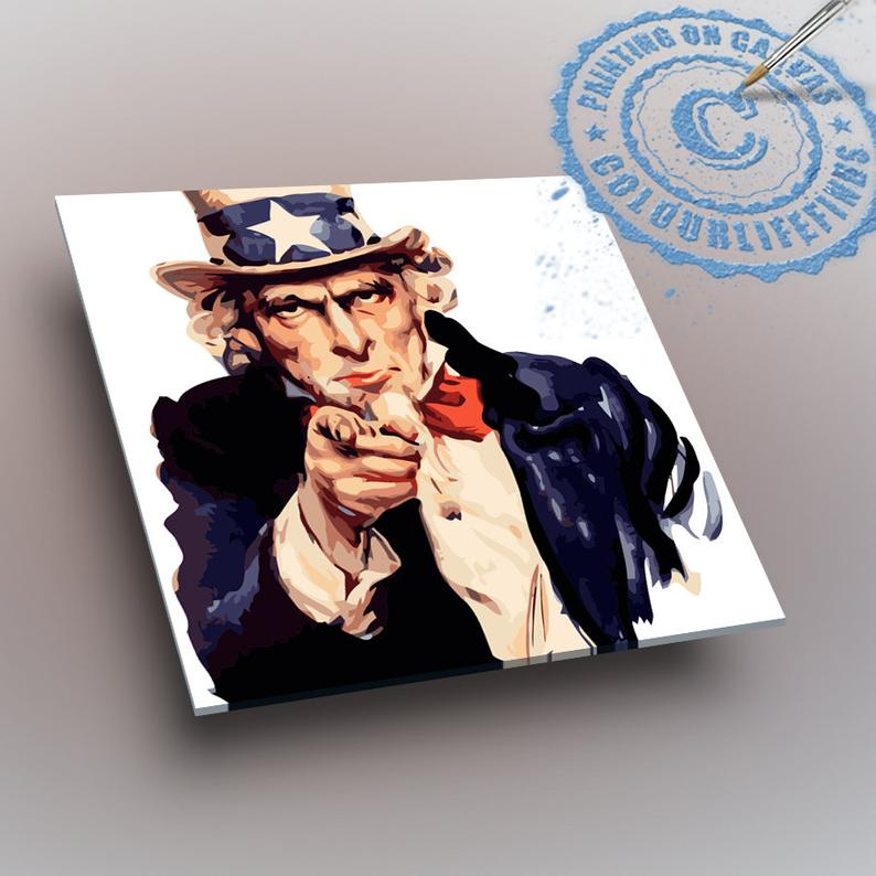 Paint By Numbers We Want You I Want You Uncle Sam Pointing Etsy Paint By Number Kits Paint By Number Canvas Designs