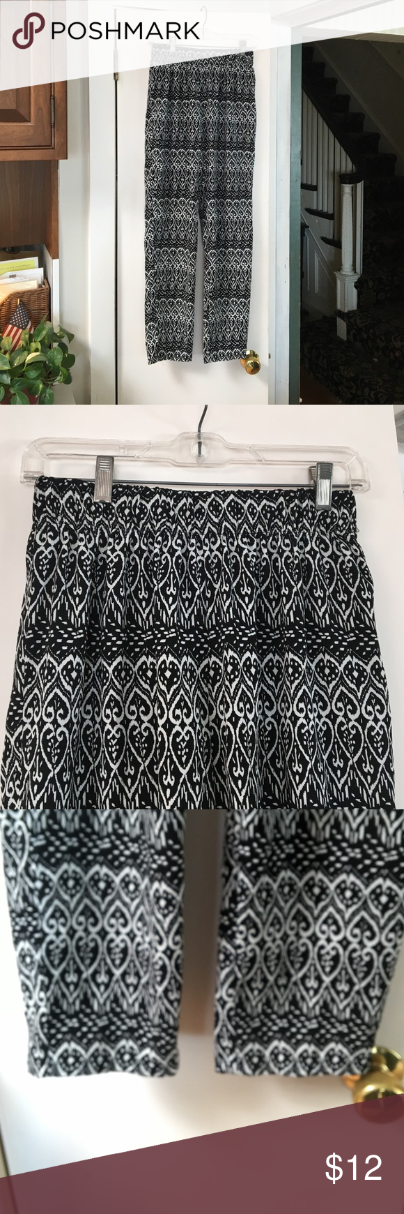 Casual pants Ambiance apparel size junior large.  Black and white print.  Elastic waist. 100%polyester. Ambiance Apparel Pants Track Pants & Joggers