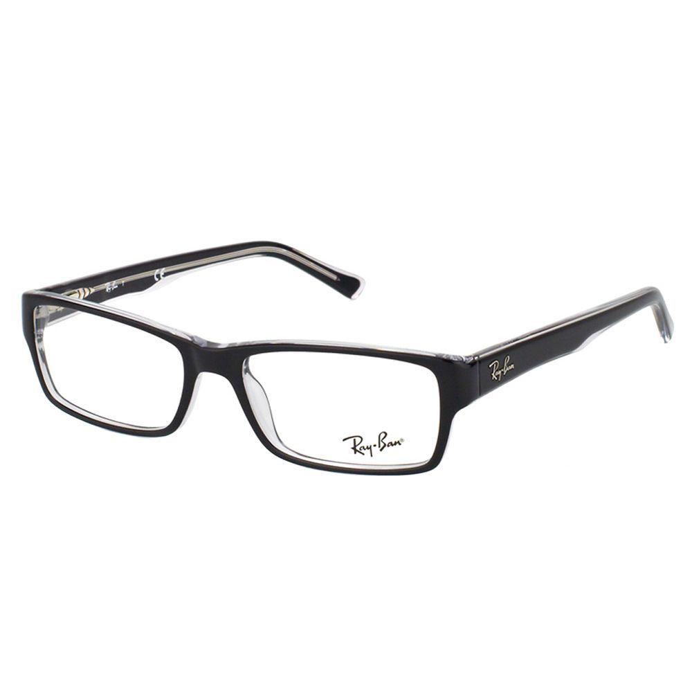 Ray-Ban Black on Crystal Plastic Rectangle Eyeglasses