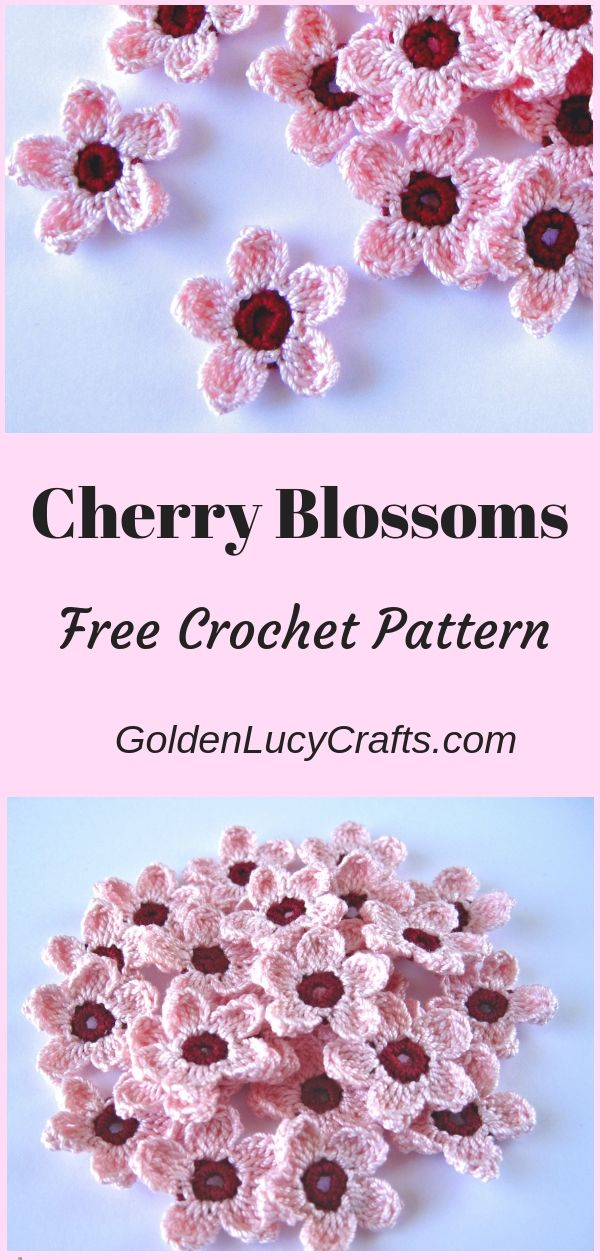 Cherry Blossoms Free Crochet Pattern #crochetapplique