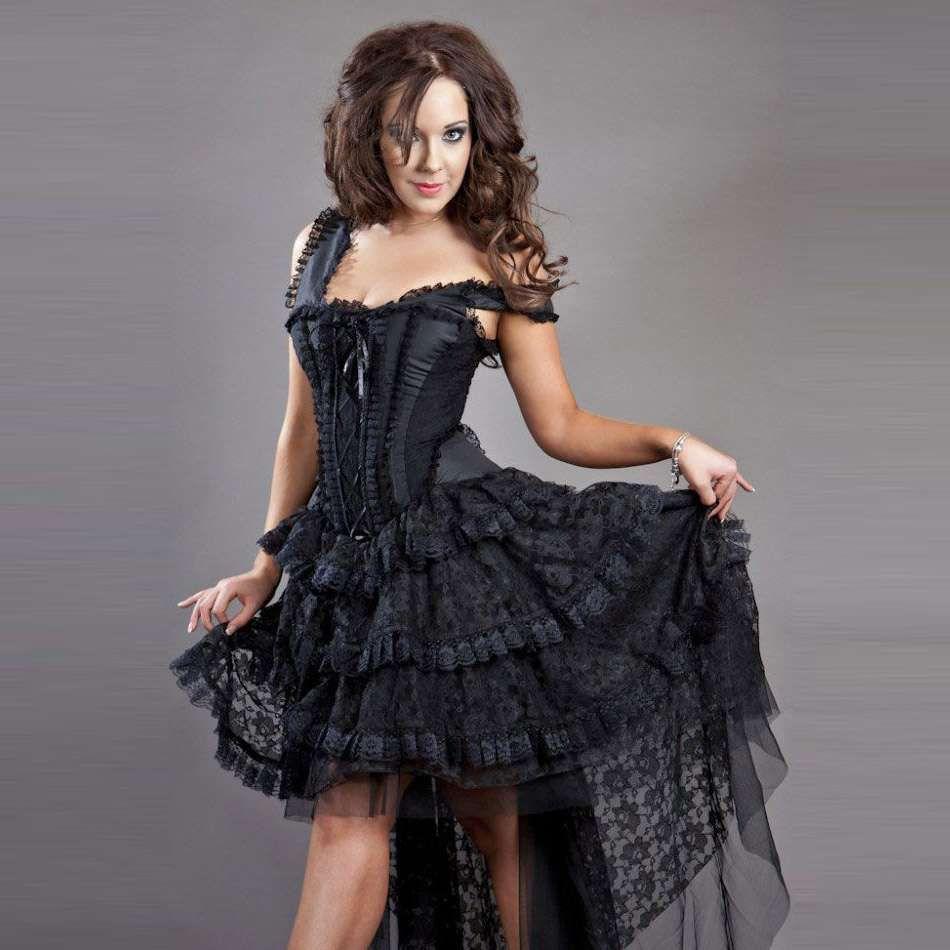 Langes Kleid aus Spitze mit Korsett - Ophelie Dress ...