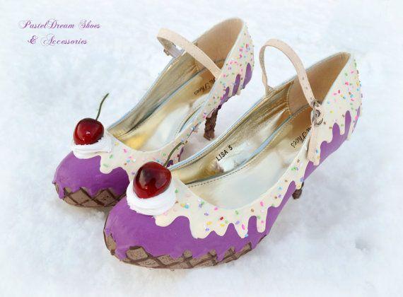 cake  mid heels shoes custom made women/'s ice cream