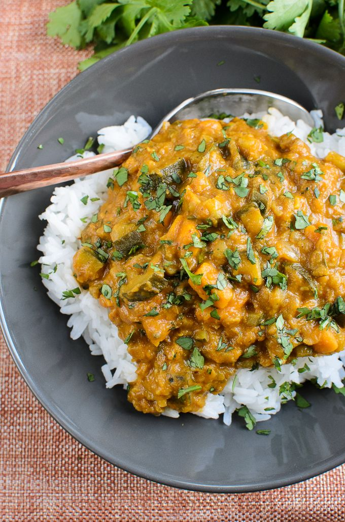 Slimming Eats Low Syn Aubergine Courgette Sweet Potato And Lentil Curry Gluten Free Dairy Free Vegetarian Slim Sweet Potato Curry Aubergine Recipe Curry