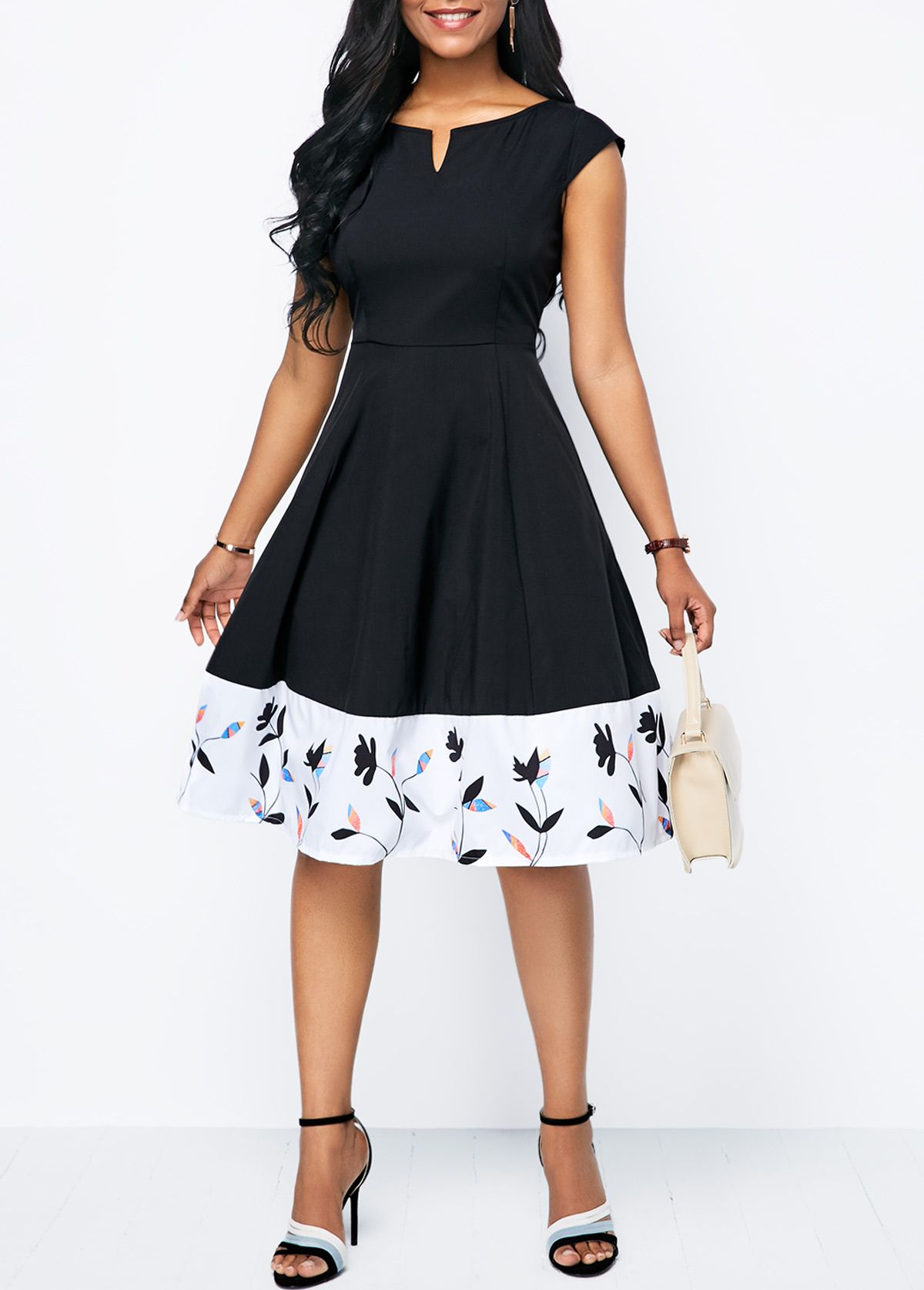 Printed Split Neck Cap Sleeve A Line Dress  