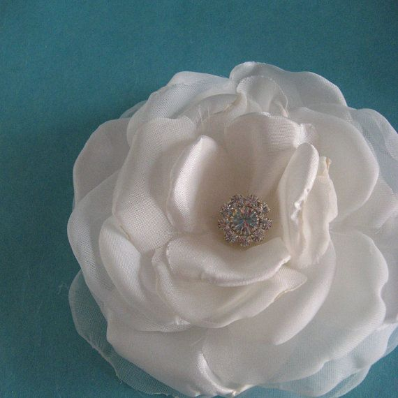 4 inch Ivory Satin and Organza Rose Hair Clip A231 by HARTfeltart, $39.90