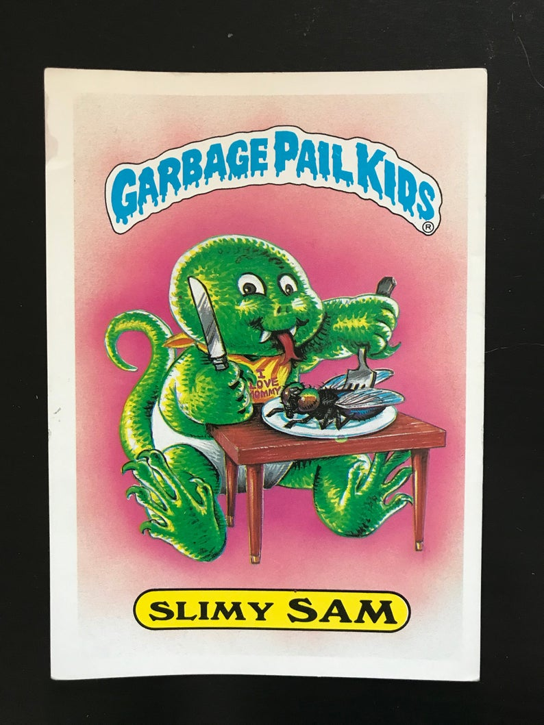 1986 Garbage Pail Kids 1st Series Giant Card 38 Slimy Sam Etsy Garbage Pail Kids Garbage Pail Kids Cards Giant Card