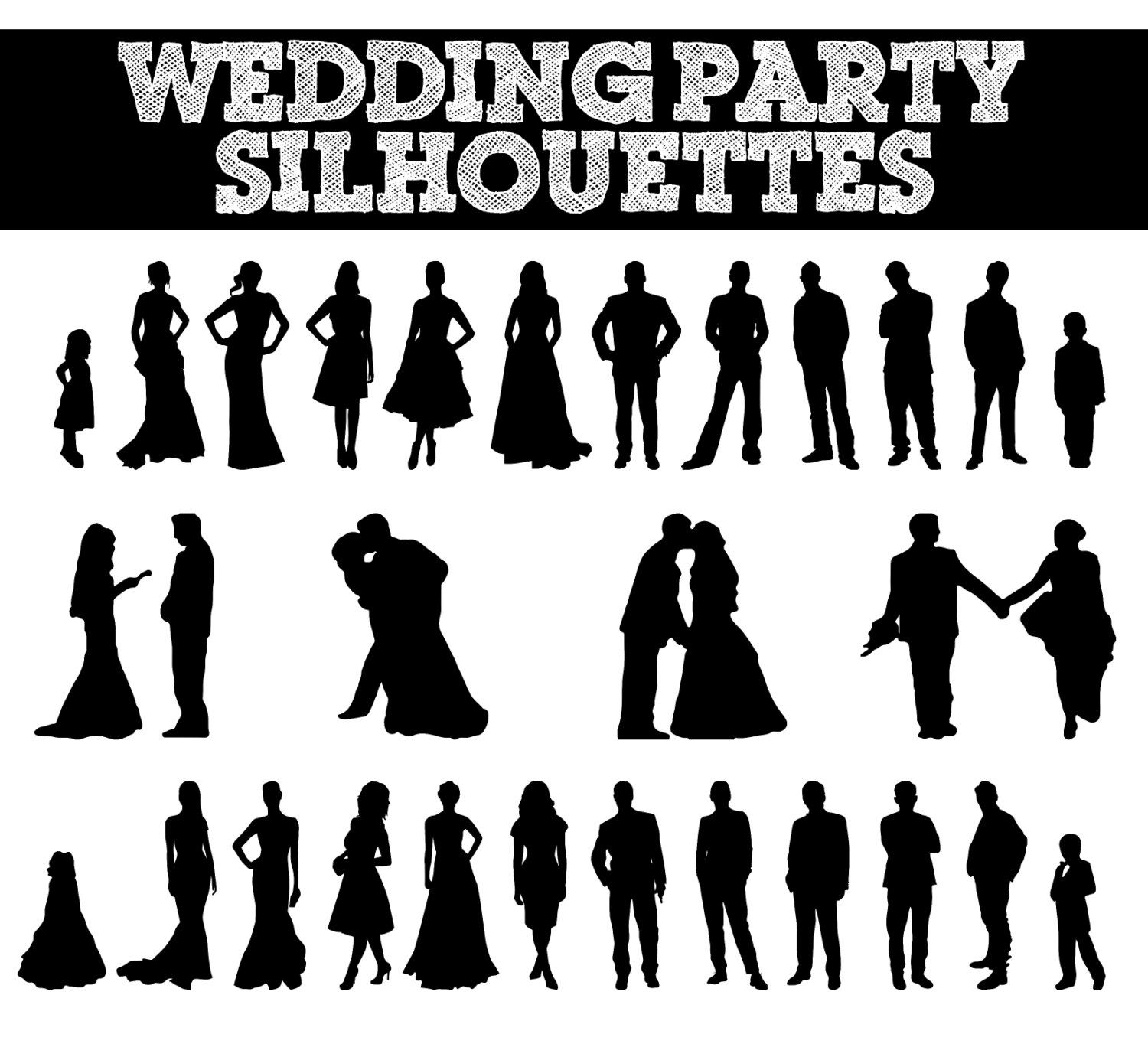 stunning wedding party silhouette clip art contemporary styles rh sperr us wedding party clipart free silhouette wedding party clipart