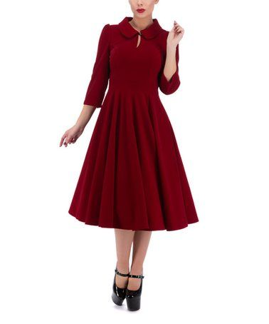 7559e8b11e37 Another great find on  zulily! Red Keyhole A-Line Dress  zulilyfinds ...
