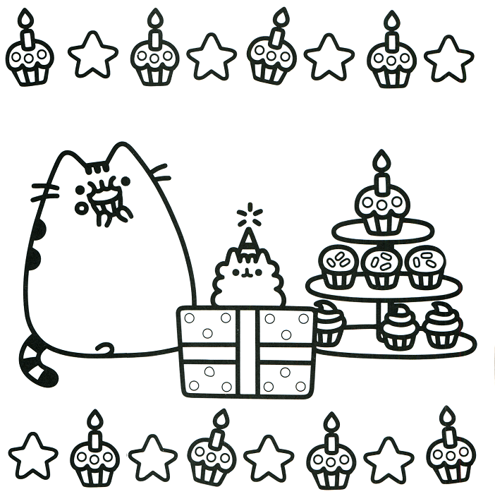 Happy Birthday Pusheen Coloring Page Scribblefun Cat Coloring Page Pusheen Coloring Pages Unicorn Coloring Pages