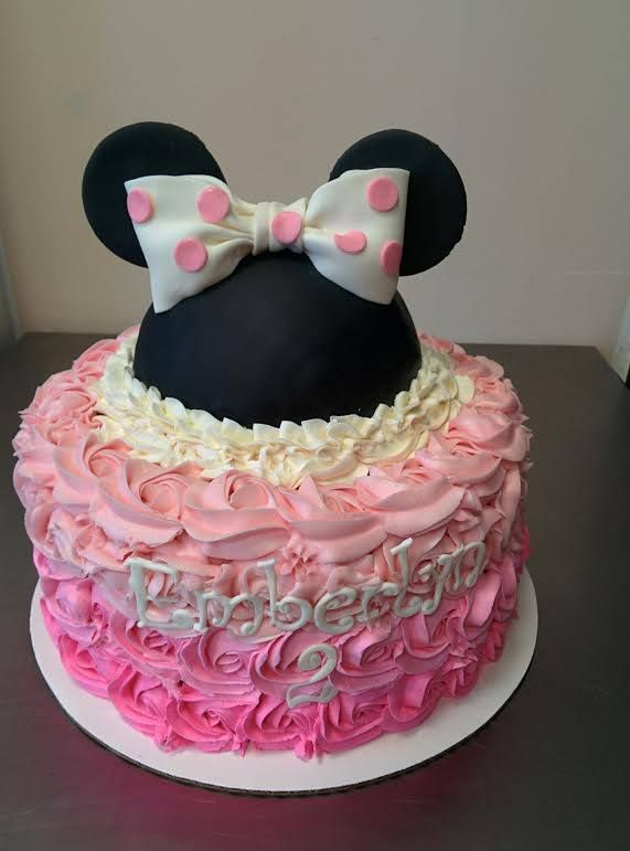 Pink Ombre Rosette Minnie Mouse Birthday Cake For A Girls 2nd