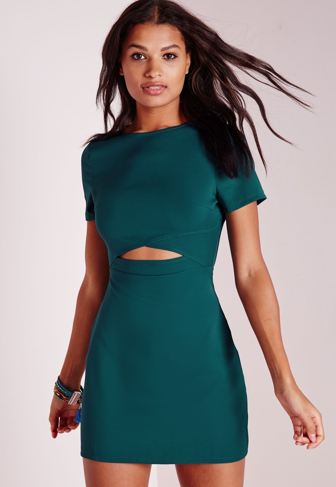 f094d4cbee83a Missguided - Cross Front Cut Out Shift Dress Teal | Fashion ...