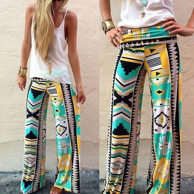 Womens Boho Floral Summer Wide Beach Leg Pants Leggings Palazzo Yoga Trousers US