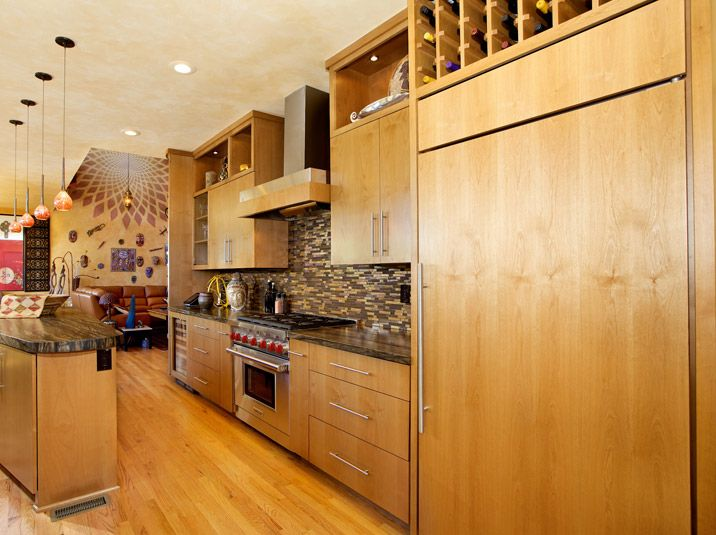 Kitchen Cabinets With Alder Wood Clear Finish Bookmatched And Flat Doors Wine Rack Appliance Panel