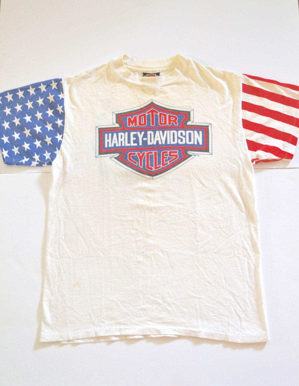 1989 Harley Davidson T Shirt American Flag Stars And Stripes Harley Shirts Harley Davidson T Shirts American Shirts