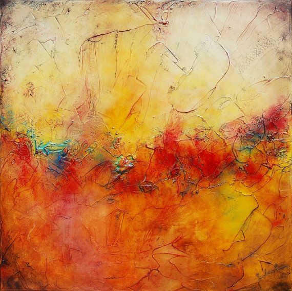 Art Panting Abstract Painting Mixed Media Red Colorful Painting