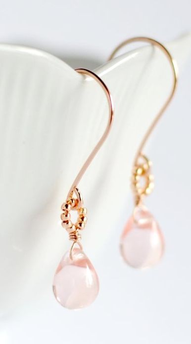 Rose gold and pink glass earrings. By Kahili Creations of Hawaii...