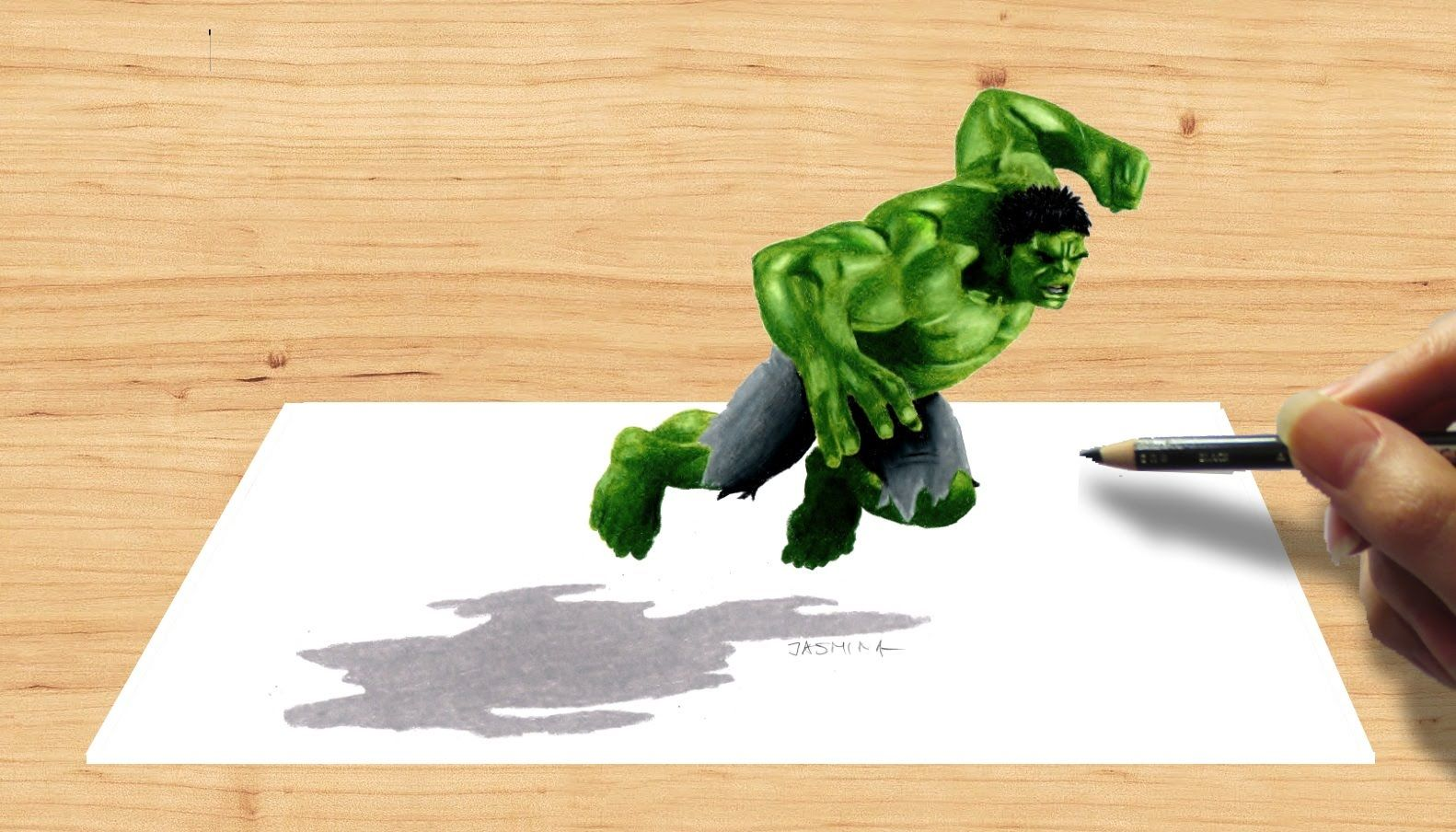 3D Pencil Drawing: Hulk Avengers Age of Ultron - Speed Draw | Jasmina Susak