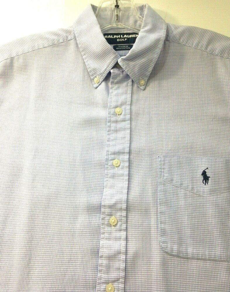 183e53aa36d8a Ralph Lauren Golf Tilden Blue Houndstooth Short Sleeve Shirt Size L   RalphLauren
