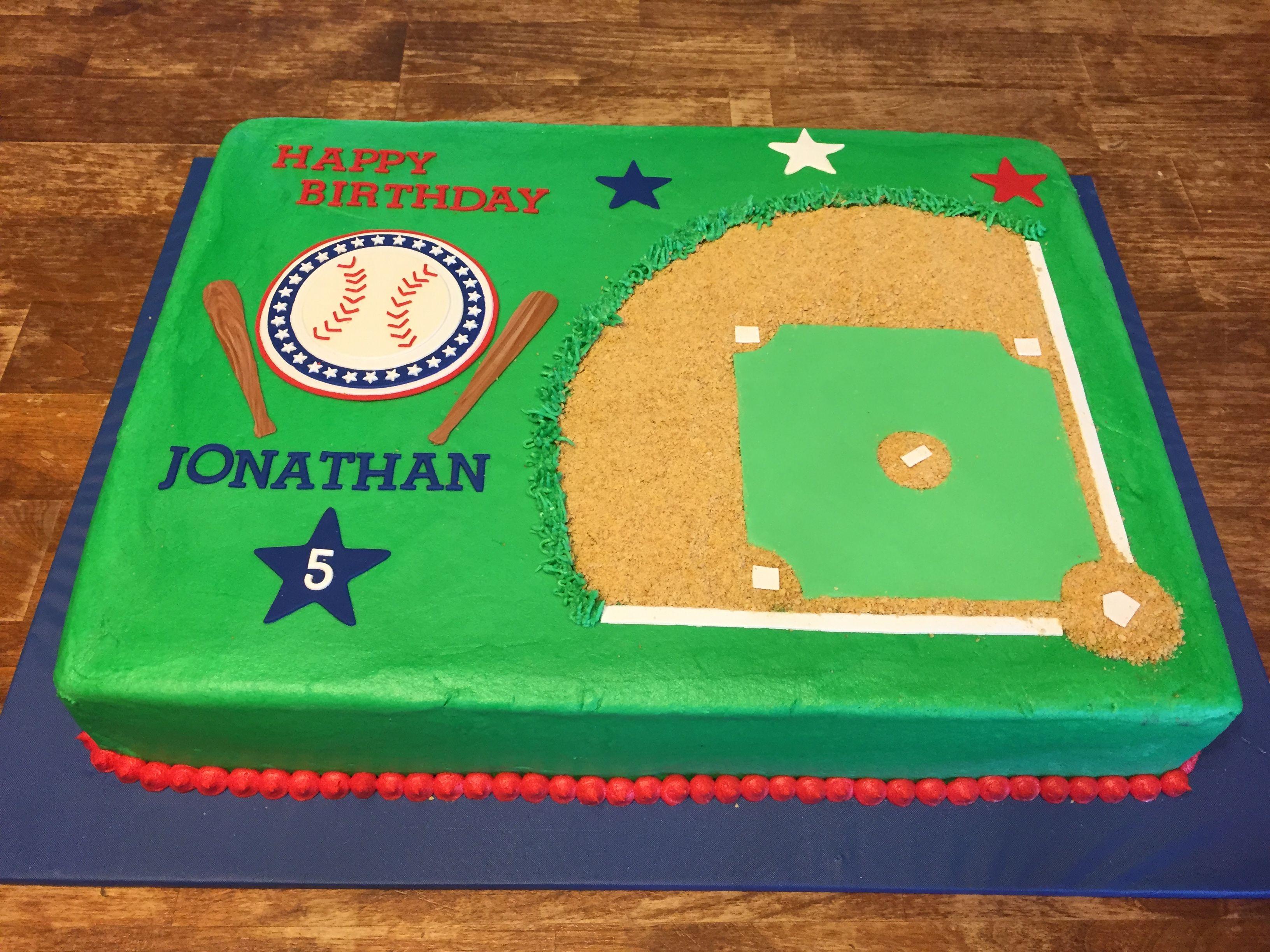 Baseball Diamond Birthday Cake With Images Baseball Birthday