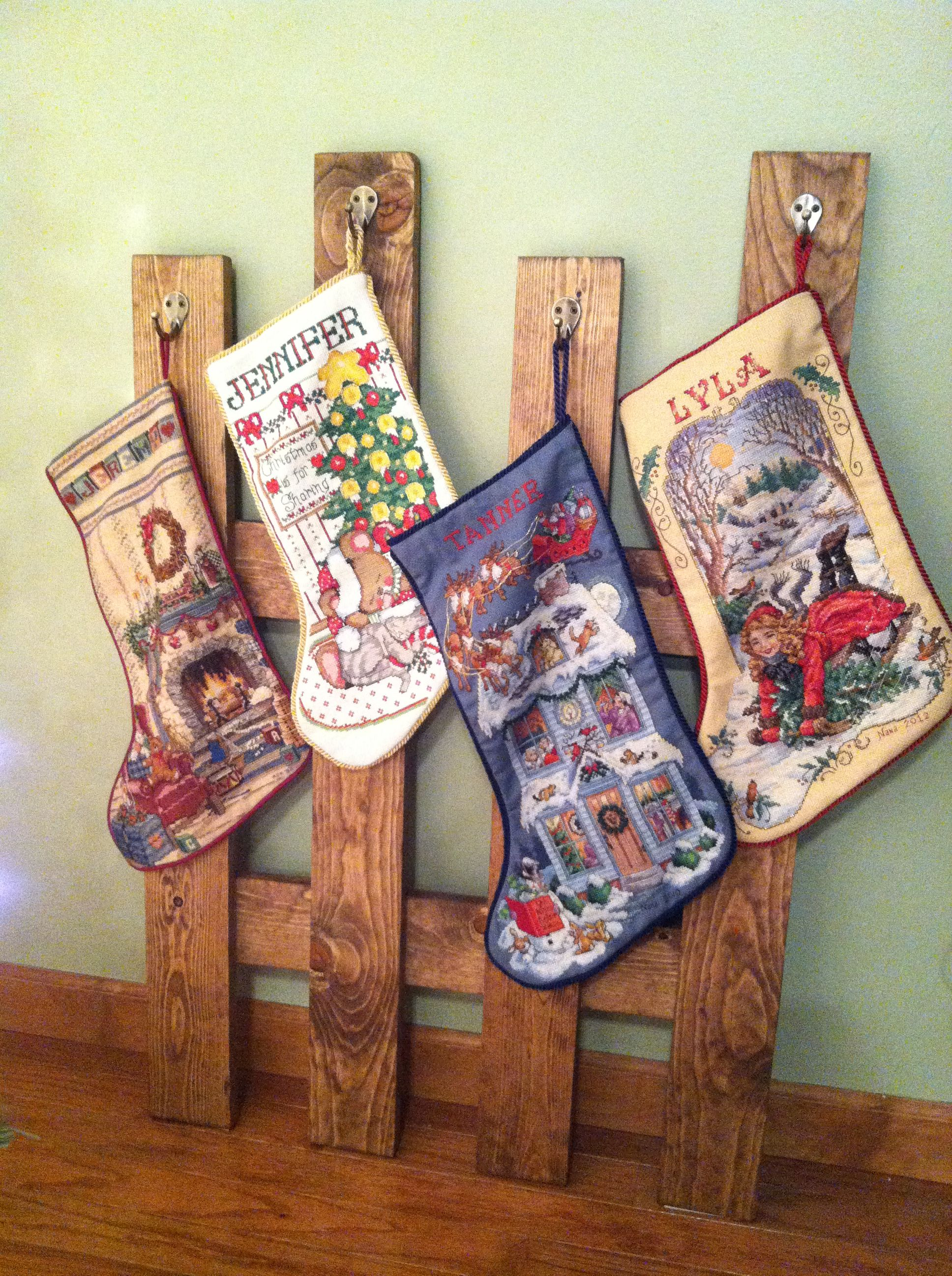 No fireplace no mantle stocking holder christmas for Mantle holders