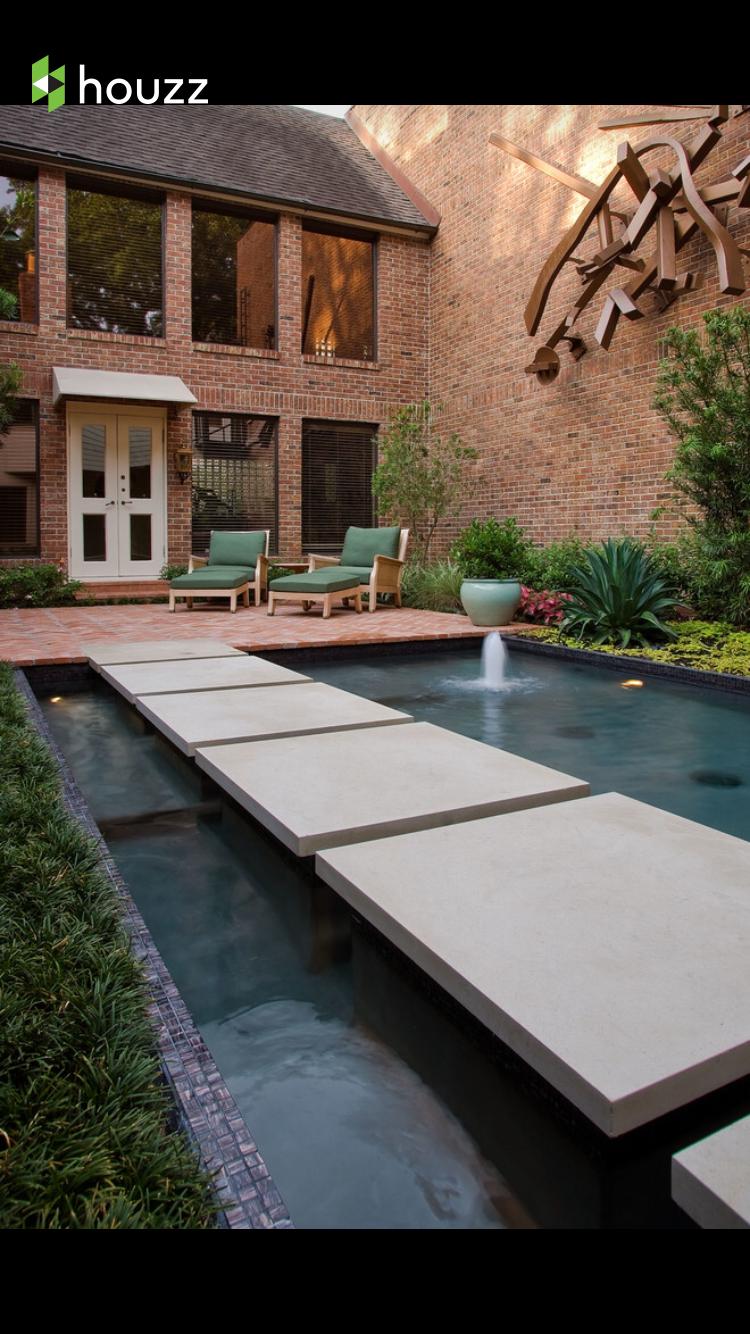 Pin by Alyssa Holub on Outside Spaces   Modern courtyard ... on Courtyard Pond Ideas id=61875