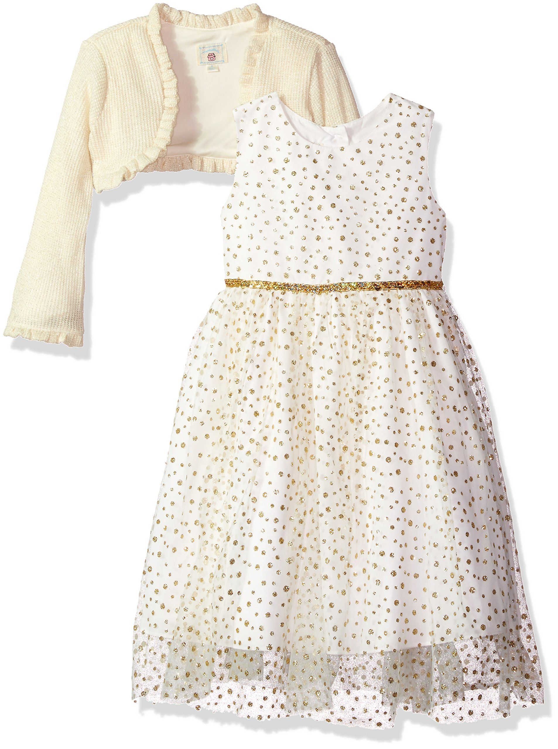 11f272570049 Marmellata Little Girls Holiday Dress With Shrug Ivory Gold 3T ...