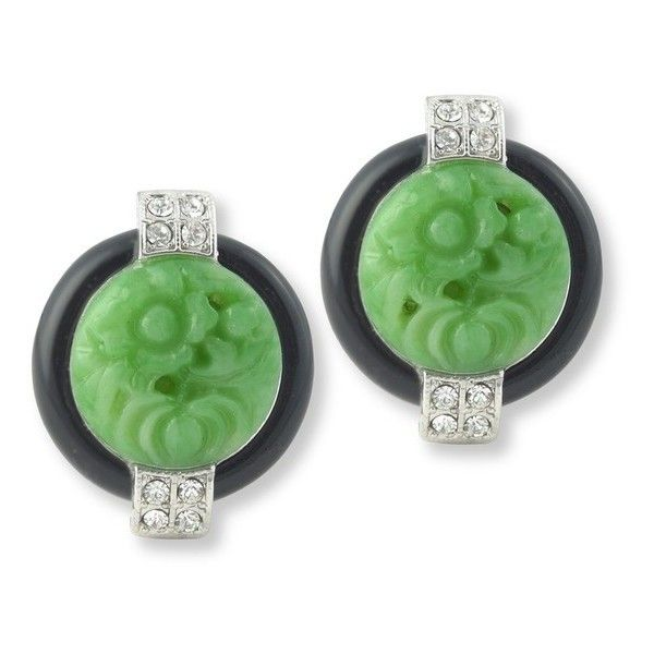 Kenneth Jay Lane Black And Jade Art Deco Clip Earring Black/jade l6SYCxYR