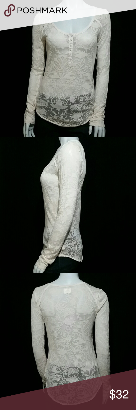 """Lace cream Henley shirt long sleeve Free People Gorgeous shirt by Intimately Free People Long sleeves  Button front- henly style Scoop neck collar  Cream floral lace  Measurements taken with item laying flat  Length: 28"""" or 71.12 cm (back of collar to hem)  Waist: 17"""" or 43.18 cm  Armpit to armpit: 20"""" or 50.80 cm  Shoulder to shoulder: 16"""" or 40.64 cm (back seam to seam)  Sleeve length: 28"""" or 71.12 cm Free People Tops Blouses"""