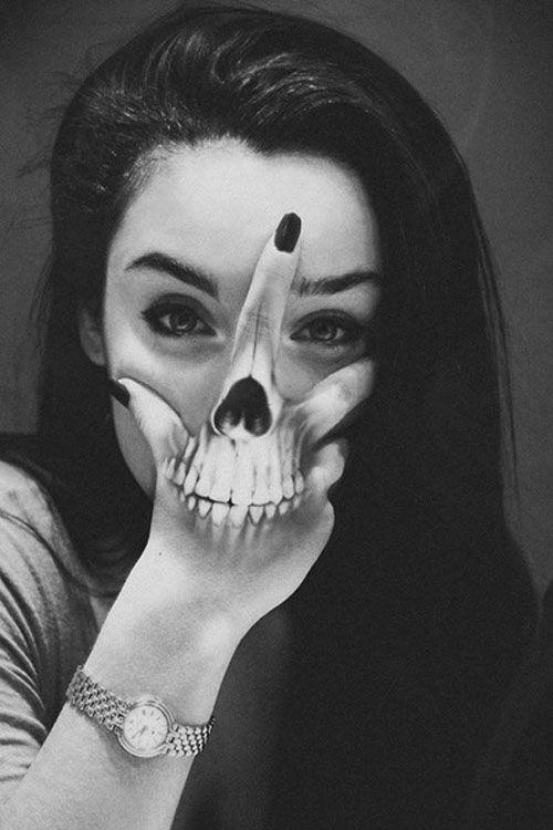 Skulls Hair Girl Black And White White Face Hipster Black Grunge