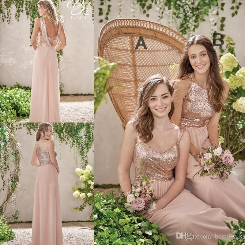 ea798508b9a Sparkly Rose Gold Cheap 2016 Mermaid Bridesmaid Dresses 2016 Short Sleeve  Sequins Backless Long Beach Wedding Party Gowns Gold Champagne Junior  Bridesmaid ...
