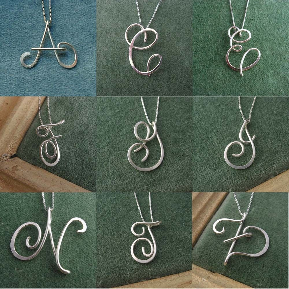 Large calligraphy initial necklace in sterling silver