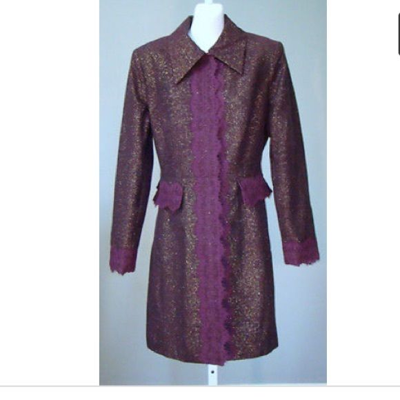 BISOU BISOU-MICHELE BOHBOT coat BISOU BISOU-MICHELE BOHBOT Plum Metallic Glitzy Tweed & Lace Dress Coat worn once Bisou Bisou Jackets & Coats