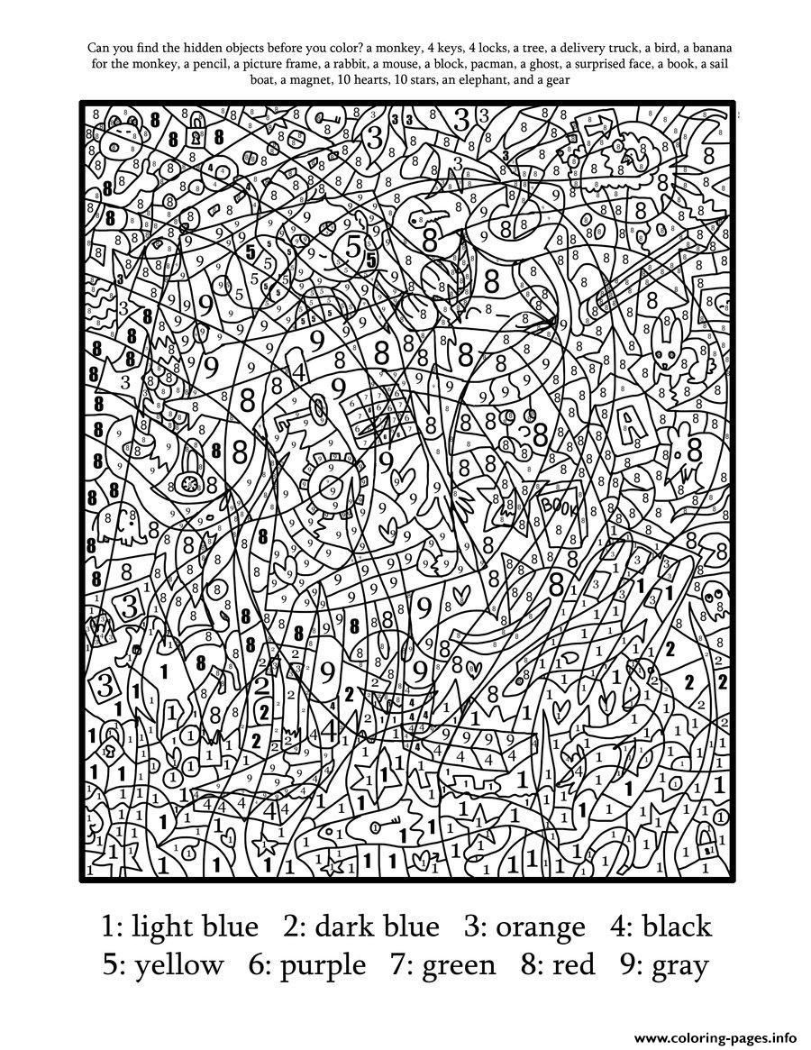 Print Really Hard Difficult Color By Number For Adults Coloring
