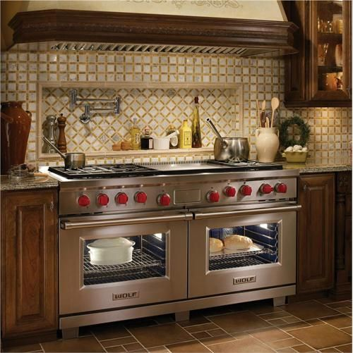 """French Kitchen Stove: 60"""" Duel Fuel Range From Wolf, Model: 6 Burners, Double Griddle. Available In A Variety Of Top"""