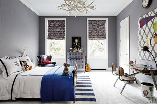 Gray Bedroom Walls White Trim Blue Accents Elegant Kid