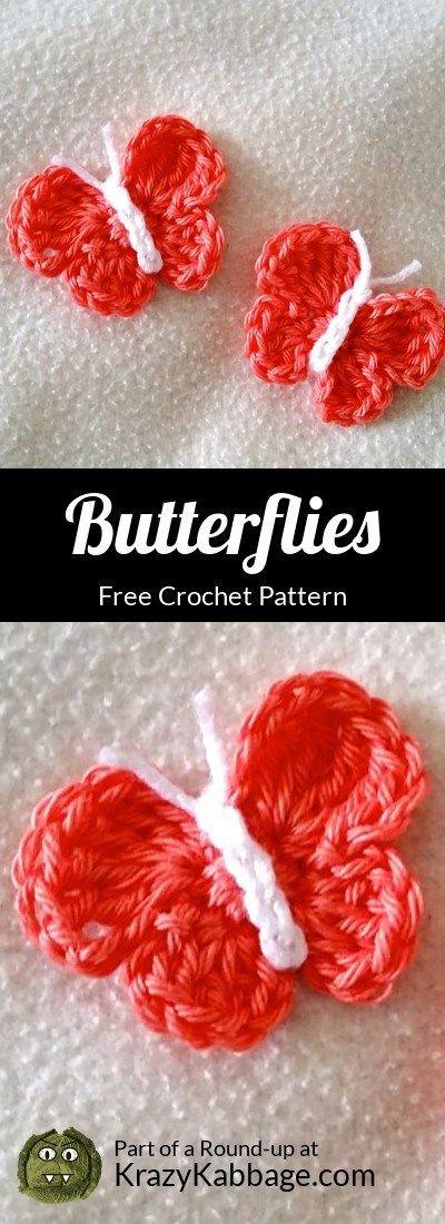 Beautiful Butterflies Free Crochet Patterns – Krazy Kabbage #butterfly #spring…