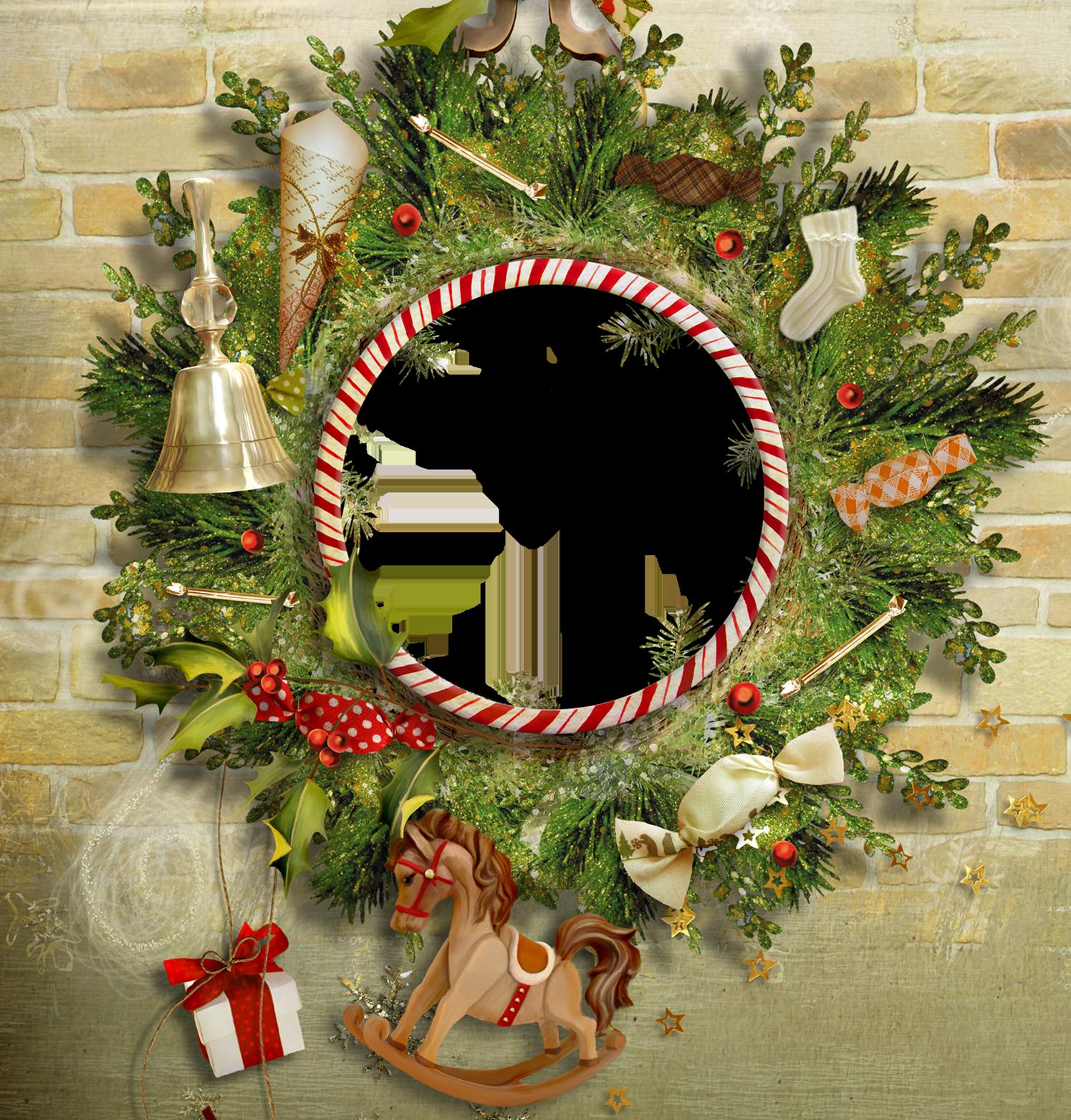 Вставить фото в рамку рождество