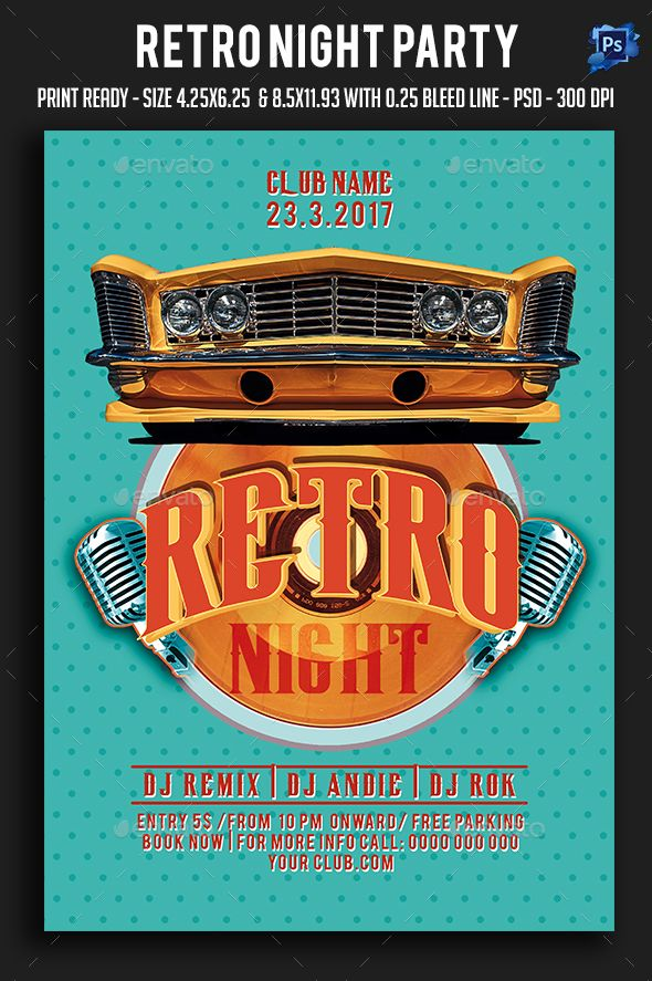 Retro Night Party Flyer | Party Flyer, Night Parties And Flyer