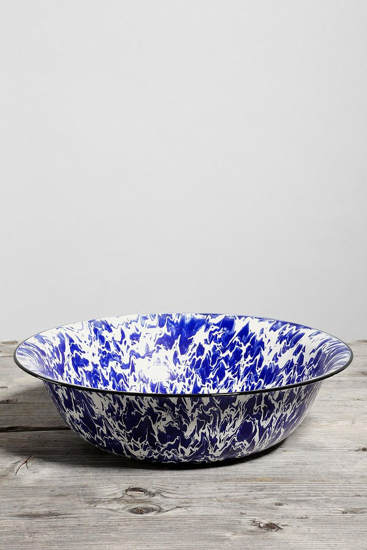 Vintage Agate Enamelware Large Bowl