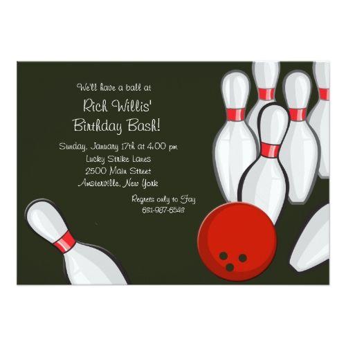 Bowling Birthday Party Invitations Bowling Night Invitation - bowling invitation