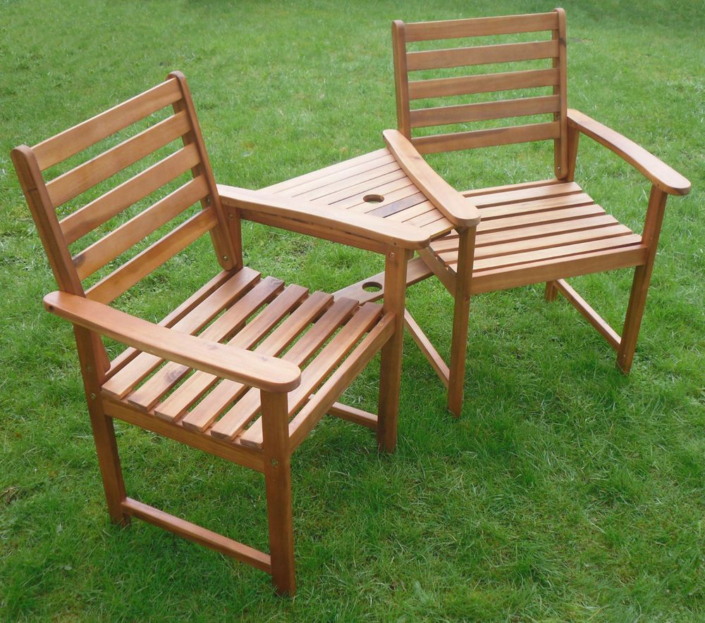 quality love seat companion set hardwood bench garden furniture free delivery - Wooden Garden Furniture Love Seats
