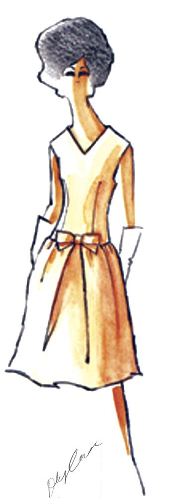 Sketch by Oleg Cassini for Jacqueline Kennedy