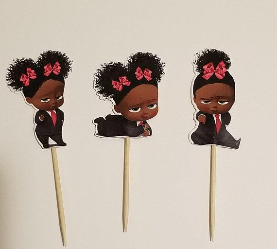 12 Cupcake Toppers Boss Baby Inspiried Girl African