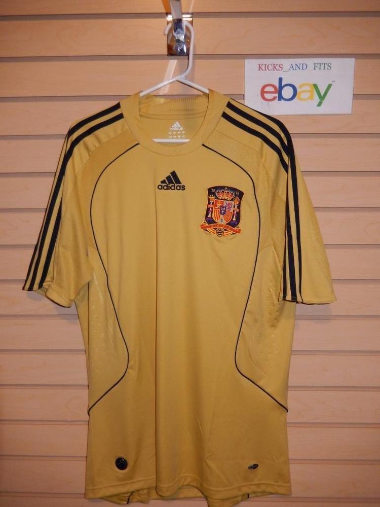 28bddcbb8 Adidas Spain World Cup Soccer Jersey Mens L RFCF Clima Cool Gold Futbol  Yellow #adidas #Jerseys